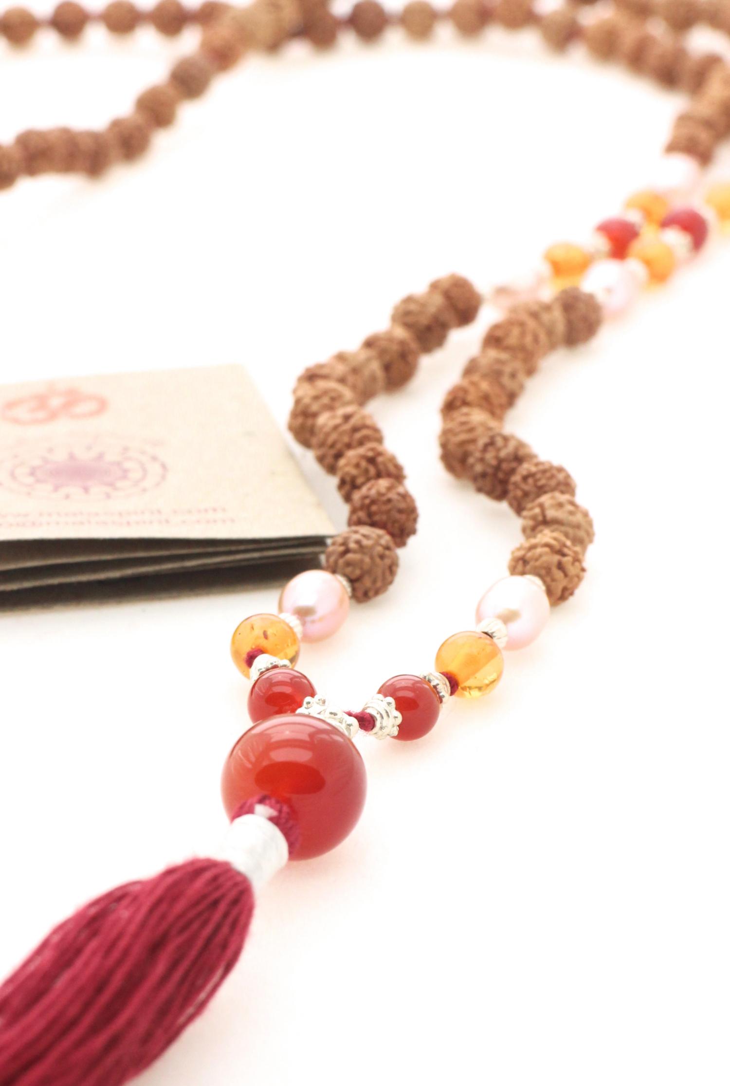 De Gypsy Soul mala necklace of Rudraksha and Carnelian ...